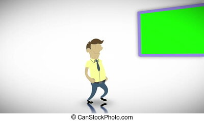 Chroma key screens with a character