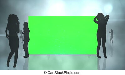 Chroma key screens with silhouette