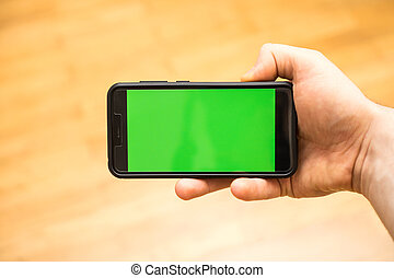 chroma, mano, advertisement., posto, key., maschio, tuo, smartphone.