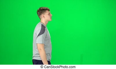 chroma, marche, mâle, écran, jeune, vert, vue, côté, key.