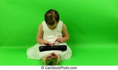 chroma, tło., keyboard., używa, klucz, dziewczyna, smalll