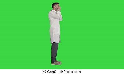 chroma, tenue, figure, ?epressed, key., désespoir, écran, docteur, vert