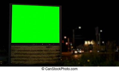 chroma, vert, vide, nuit, écran, panneau affichage, 4k, clã©
