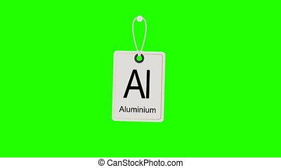 chromakey., het slingeren, element, chemisch, periodiek, label., tafel