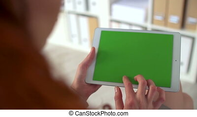 Chromakey Screen on Touchpad - Over the female shoulder view...