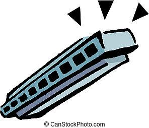 Vector illustration of chromatic harmonica.