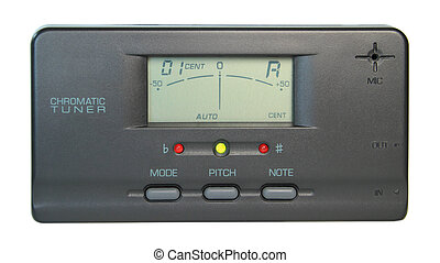 A digital chromatic tuner when tuned to A.