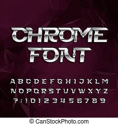 Chrome alphabet font. Metallic effect italic letters and...
