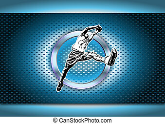 illustration of basketball player in the chrome ring