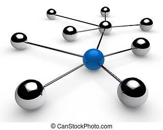 chrome, bleu, réseau, 3d