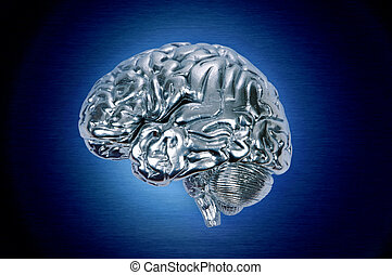 chrome brain profile - metallic, chrome brain with blue halo...