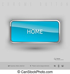 Chrome button with color plastic inside