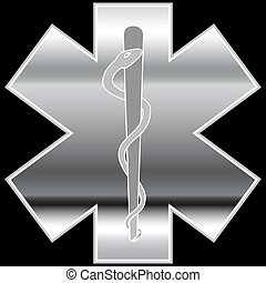 Chrome Caduceus isolated on a white background.