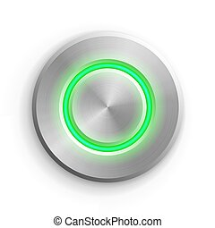 Chrome circle button. Metal silver round 3d icon vector illustration. Shiny circular realistic object on white background. Abstract element with green light