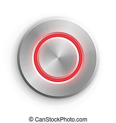 Chrome circle button. Metal silver round 3d icon vector illustration. Shiny circular realistic object on white background. Abstract element with red light