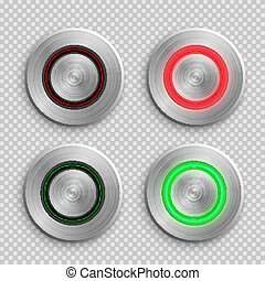 Chrome circle button set. Metal silver round 3d icons vector illustration. Shiny circular realistic objects on transparent background. Abstract elements with red and green light