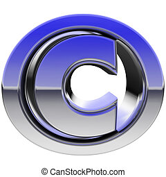 Chrome copyright sign with color gradient reflections ...