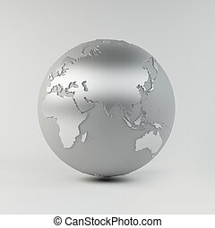 Chrome Earth - A High quality 3d Earth Structure styled in a...