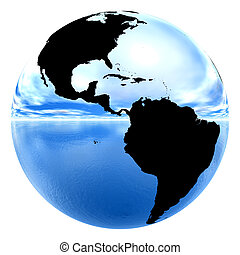 chrome earth reflecting sky & water - isolated chrome earth...