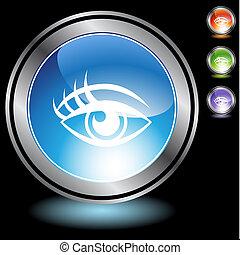 chrome, ensemble, oeil, humain, icône