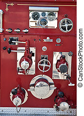 Chrome Fixtures on Old Red Firetruck