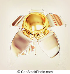 Chrome flower with a gold head . 3D illustration. Vintage style.