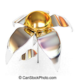 Chrome flower with a gold head