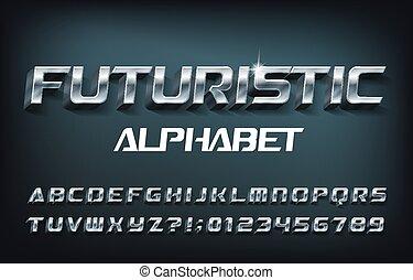 chrome, font., alphabet, 3d, shadow., lettres, nombres, futuriste