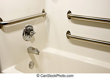 handicap bathtub - chrome grab safety bars in a handicap...