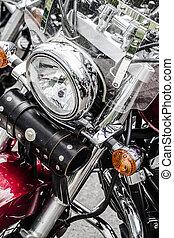 chrome, grand, plaqué, closeup, motocyclette, chrome, moteur, brillant