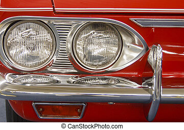 chrome, gril, phares, voiture rouge