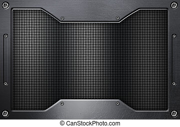 chrome grille background with metal frame