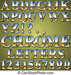 An Alphabet Sit of Shiny Chrome Metal Letters and Numbers