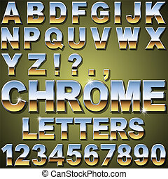 Chrome Letters - An Alphabet Sit of Shiny Chrome Metal...