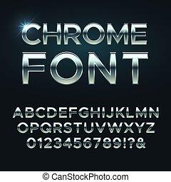 Chrome metal vector font. Steel metallic alphabet letters