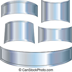 Chrome Metallic plates, vector illustrations set