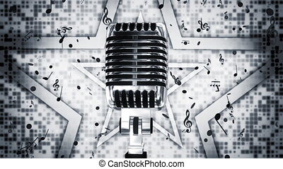 Chrome Microphone Music Backdrop - Chrome Microphone and...