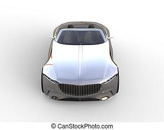 Chrome modern cabriolet concept car - top down view