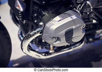 Chrome modern motorcycle engine close-up