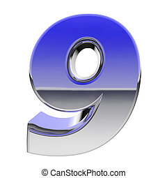 Chrome number 9 with color gradient reflections isolated on white. High resolution 3D image