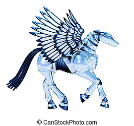 Chrome Pegasus - 3D render
