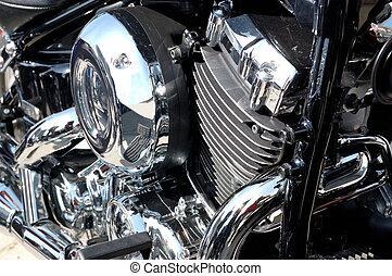 chrome-plated engine of motorcycle