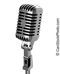 Chrome-plated vintage microphone isolated on white background.