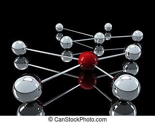 chrome, réseau, rouges, 3d