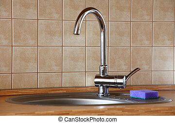 chrome, robinet eau, bois, cuisine