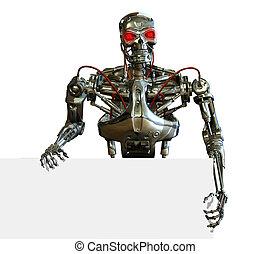 Chrome Robot with Sign Edge