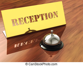 Chrome service bell and brass reception plate ,3d...