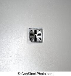 Chrome Shower Floor Drain Closeup