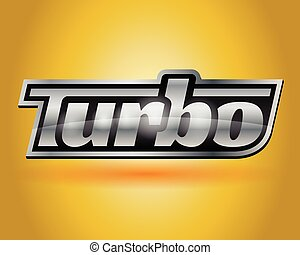 Chrome silver vehicle turbo badge
