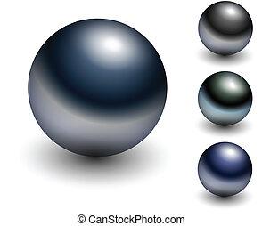 Chrome sphere - metallic glossy balls. Vector.